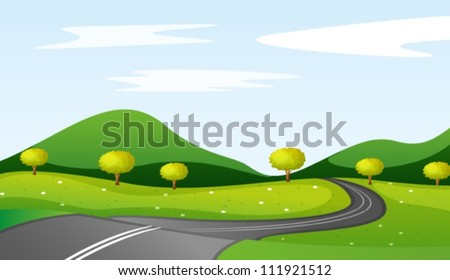 illustration of a landcape in a beautiful nature - stock vector