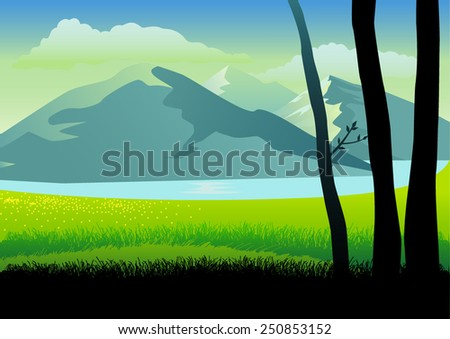 Illustration of a landscape of mountains and grass land - stock vector