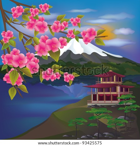 Illustration of a landscape with cherry blossoms and volcano - stock vector