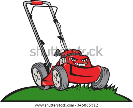 Illustration of a lawnmower on grass viewed from front set on isolated white background done in cartoon style.  - stock vector