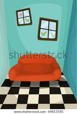 Illustration of  A leather couch in room. - stock vector