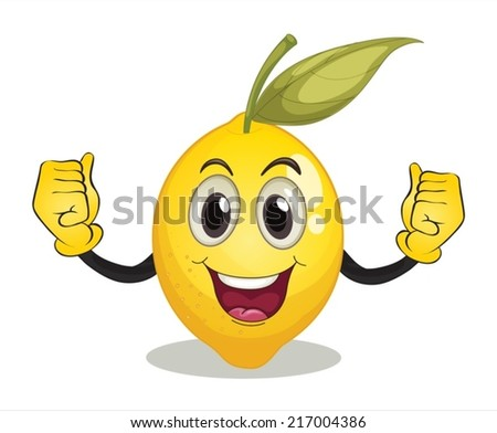 Illustration of a lemon with face - stock vector