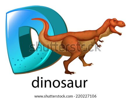 Illustration of a letter D for dinosaur on a white background  - stock vector