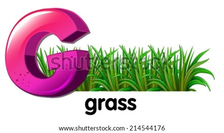 Illustration of a letter G for grass on a white background - stock vector