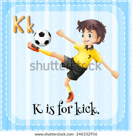 Illustration of a letter K is for kick - stock vector