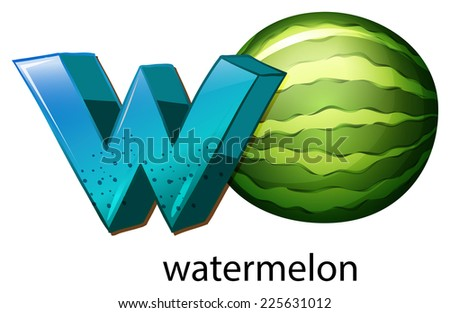 Illustration of a letter W for watermelon on a white background