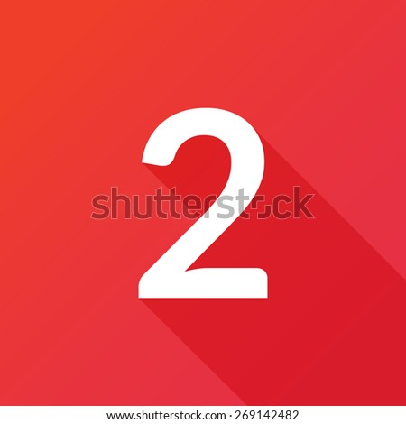 Illustration of a Letter with a Long Shadow - Letter 2. - stock vector