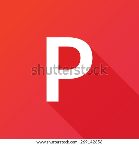 Illustration of a Letter with a Long Shadow - Letter P. - stock vector