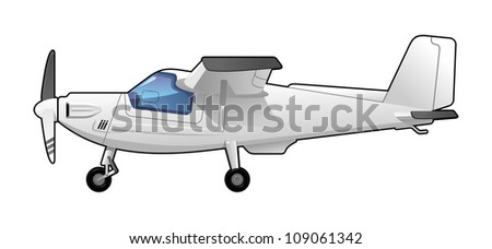 illustration of a light aircraft.  Simple gradients only - no gradient mesh. - stock vector
