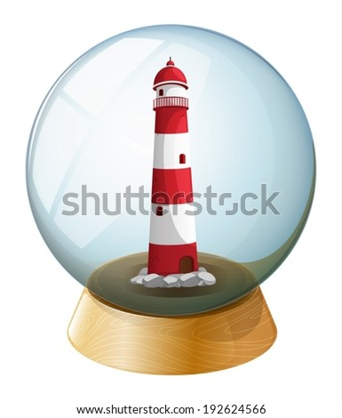 Illustration of a lighthouse inside the crystal ball on a white background