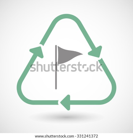 Illustration of a line art recycle sign icon with a golf flag - stock vector