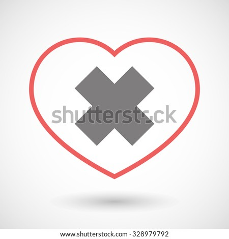 Illustration of a line heart icon with an irritating substance sign - stock vector