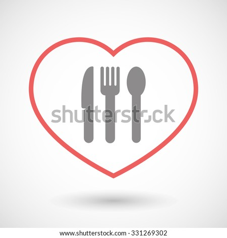 Illustration of a line hearth icon with cutlery - stock vector