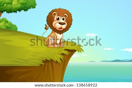Illustration of a lion sitting at the cliff - stock vector