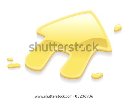 Illustration of a liquid gold metal house symbol sign - stock vector