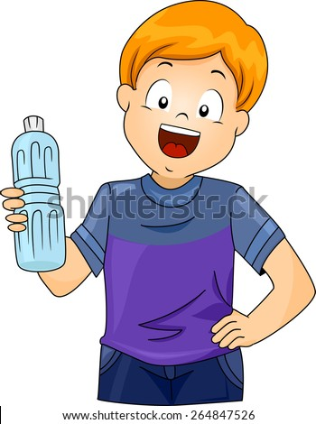 Illustration of a Little Boy Holding a Plastic Bottle of Water - stock vector