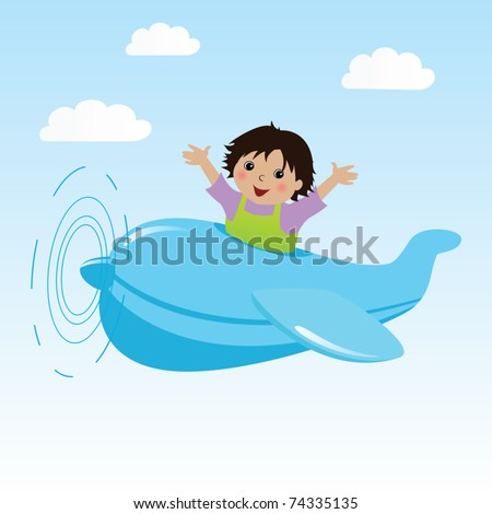 Illustration of a little boy in airplane