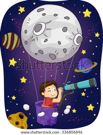 Illustration of a Little Boy in an Air Balloon Peering Through a Telescope - stock vector