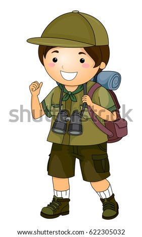 Illustration Of A Little Boy In Full Camping Gear With Pair Binoculars Hanging From