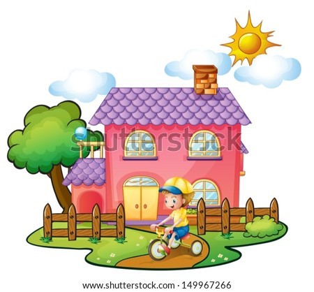 Illustration of a little boy playing in front of their house on a white background - stock vector