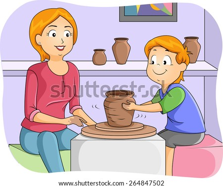 Illustration of a Little Boy Taking Pottery Lessons - stock vector
