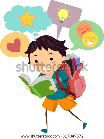 Illustration of a Little Boy With Speech Bubbles Appearing on Top of His Head While He Reads - stock vector