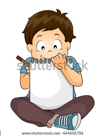 Illustration of a Little Boy Writing on His Sketchbook