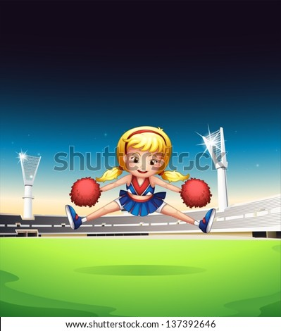 Illustration of a little cheerleader in the field - stock vector