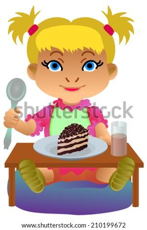 Cartoon Little Boy Eating Ice Cream Stock Vector 145212940