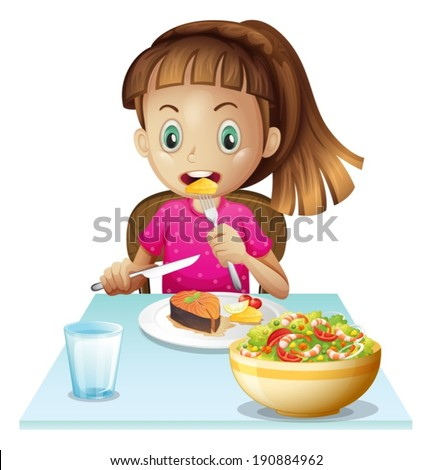 Illustration of a little girl eating lunch on a white background - stock vector
