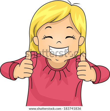 Illustration of a Little Girl Giving Two Thumbs Up - stock vector