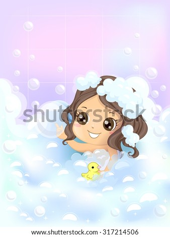 Illustration of a Little Girl Playing with Bubbles and a Rubber Duckie While She Bathes - eps10 - stock vector