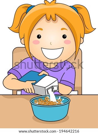 Illustration of a Little Girl Pouring Milk on a Bowl of Cereal - stock vector
