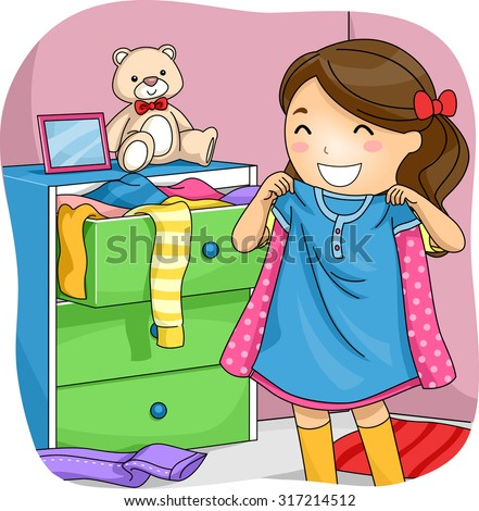 Illustration of a Little Girl Pulling Clothes from Her Drawer to Choose From - stock vector