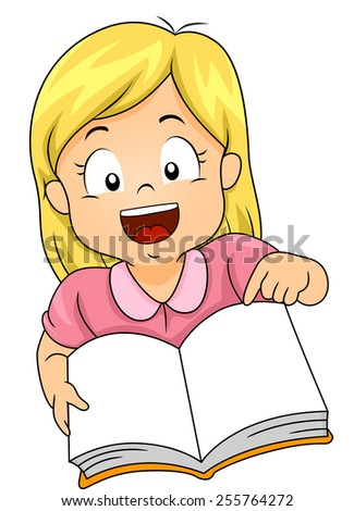 Illustration of a Little Girl Smiling Widely as She Opens a Book - stock vector