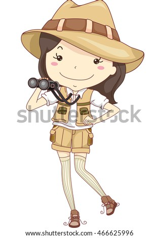 Illustration Of A Little Girl Wearing Safari Costume