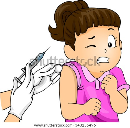 Illustration of a Little Girl Wincing at the Sight of a Syringe - stock vector