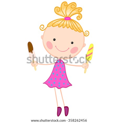 Illustration of a little standing girl with two servings of ice cream in her hands on a white background