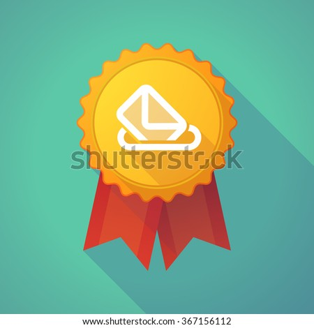 Illustration of a long shadow badge icon with  a ballot box - stock vector