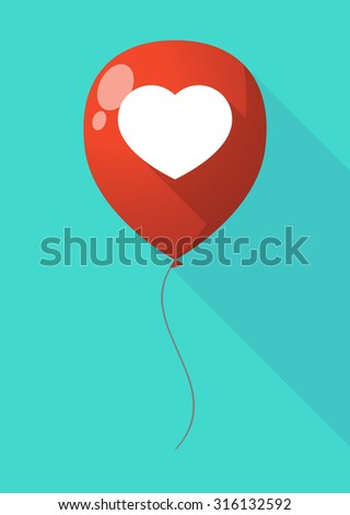 Illustration of a long shadow balloon with a heart