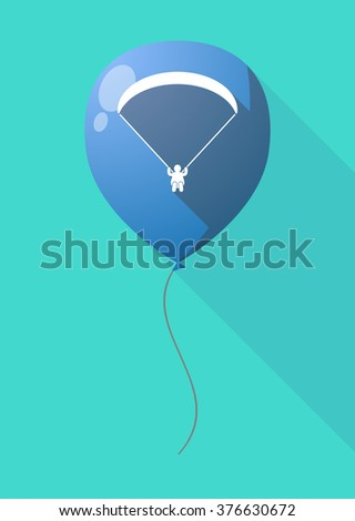 Illustration of a long shadow balloon with a paraglider