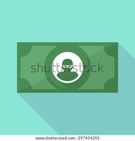 Illustration of a long shadow banknote icon with a thief - stock vector