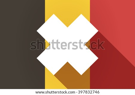 Illustration of a long shadow Belgium flag with an irritating substance sign - stock vector