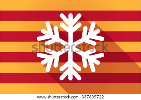 Illustration of a long shadow Catalonia vector flag with a snow flake - stock vector