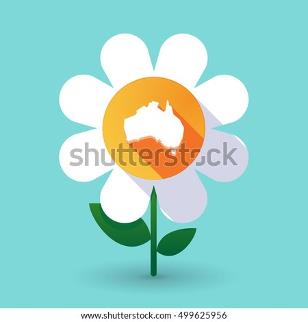 Illustration of a long shadow daisy flower with  a map of Australia