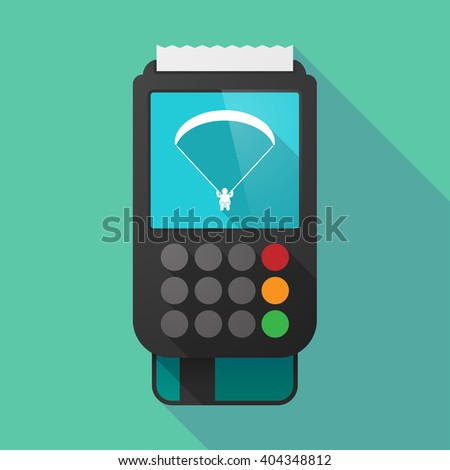Illustration of a long shadow dataphone with a paraglider - stock vector