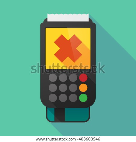 Illustration of a long shadow dataphone with an irritating substance sign - stock vector