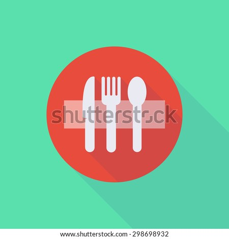 Illustration of a long shadow do not enter icon with cutlery - stock vector