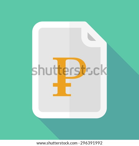 Illustration of a long shadow document icon with a ruble sign
