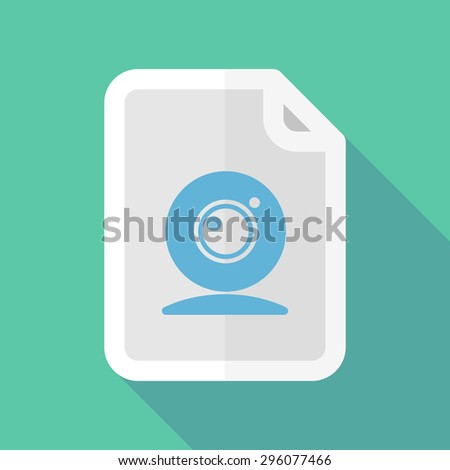 Illustration of a long shadow document icon with a web cam - stock vector